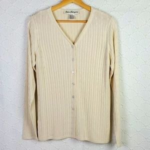 Norm Thompson 100% silk Cable Knit sweater S